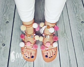 Model ROMANTICA --- ON ORDER--Sandals boho style,pom poms sandals, leather sandals, boho sandals, lace up sandals