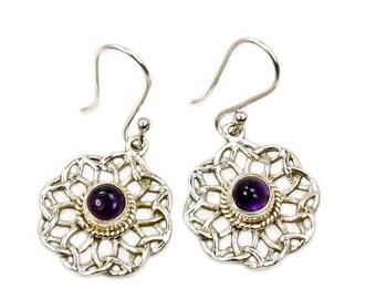Amethyst Earrings & .925 Sterling Silver Dangle Earrings AF389 The Silver Plaza