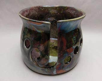 RAKU YARN BOWL - Andromeda Standard Cut - Hand Made Ceramic #770