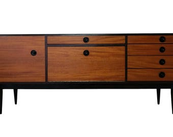 Mid Century Credenza with Black Accents