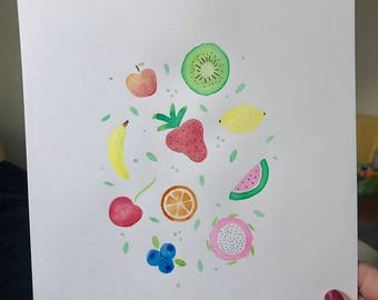 Happy Fruit Watercolor Painting