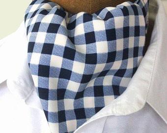 ascot,mens ascot,ascot tie,blue-white checked