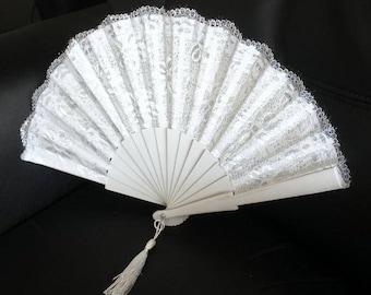 Hand Fans, hand fan, Abanico, weddingfan, white-silver,bride