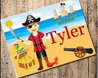 "Pirate Personalized Placemat  16""x10"" Fabric Top, rubber backing, stops sliding, heat resistant, absorbs moisture, pirate ship"