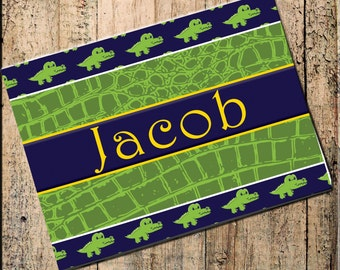 """Alligator Personalized Placemat  16""""x10"""" Fabric Top, rubber backing, stops sliding, heat resistant, absorbs moisture, blue and green"""