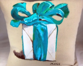 A Gift with Merci hand painted pillow