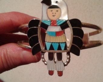 Zuni Indian Madeline Beyuka Eagle Kachina Dancer Bracelet, Sterling, Turquoise, Red Coral, Black Jet, Mother of Pearl, Pristine, Perfect
