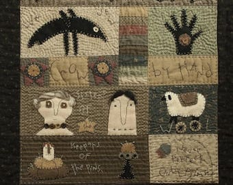 Pattern: The Primitive Quilter Wool Applique Wall Quilt Pattern by Briar Root Primitives