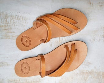 Women's Leather Sandals, Natural Leather Sandals in Handmade, Many Straps Greek Sandals, boho hippie style leather sandals, slip on sandals