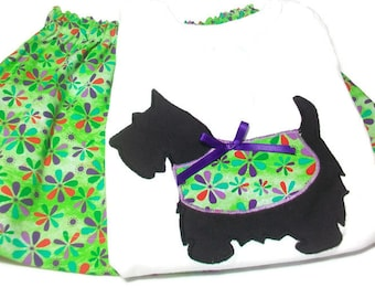 Girls Skirt Set, Girls Puppy Outfit, Size 24 Month Girl, Scottie Dog, Skirt and Top Outfit, Girls Fashion