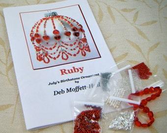 Beaded Ornament Kit, Birthstone July, Ruby, Make Your own, DIY, Deb Moffett-Hall, Holiday Ornament Kit