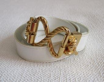 White belt Vintage belt vegan Belt 1980s Women white Belt Narrow natural white Belt gold buckle ivory belt vintage belt gold buckle one size