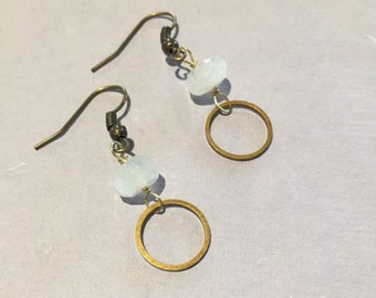 Moonstone and Antiqued Bronze Earrings