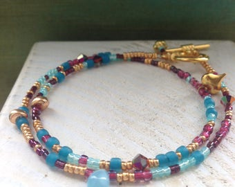 Blue gold and pink bracelet, 2 wrap blue and gold beaded bracelet, pink and blue bracelet, wrap bracelet, delicate bracelet, glass beads