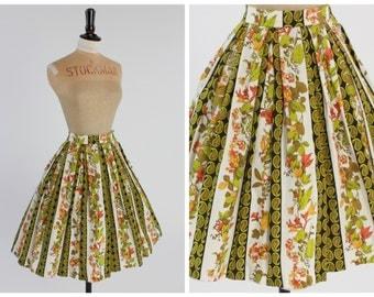 Vintage 1950s 50s 1960s 60s original novelty floral leaf and paisley stripe skirt by Skirt Pride UK 6 8 US 2 4 XS S