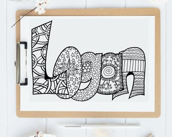 Color Your Name - LOGAN - Printable coloring pages for kids and adults.  Use for rainy day activity,turn into wall art,use your imagination!