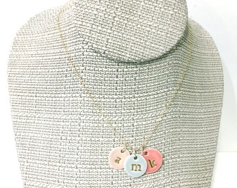 Three Charms Initial Delicate Necklace in 22k Gold Luster Overglaze on Ceramic Stoneware Includes Chain handmade monogram