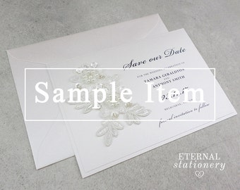 "Elegant Lace Motif Save the Date SAMPLE - ""Tamara"" 