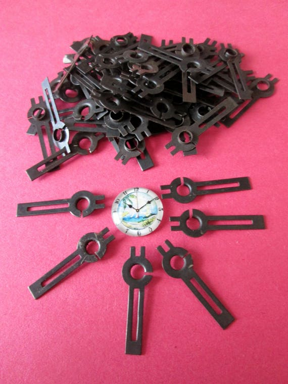 "72 Small 1 1/4"" Vintage Black Cut Out Design Steel Clock Hour Hands for your Clock Projects,  Jewelry, Steampunk Art  Etc..."