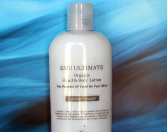 Emu Oil HAND & BODY LOTION/Cream -100% Natural/Organic- Unscented - Infused with natural herbs and essential oils -detoxify/sooth/revitalize