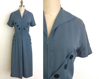 vintage 1940s dress | 40s gabardine day dress with button details