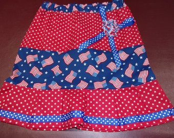 Girl's Skirt Size 7 USA Flags and Stars Red White and Blue Patriotic July 4th