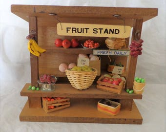 Folk Art Fruit Stand Wood House 6.5 by 5.5 by 5 inches