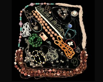 Junk Drawer Costume Jewelry Lot, Beaded Bracelets and Necklaces, Craft Jewelry Pieces, Lot of Jewelry and Trinkets for Repair and Harvest