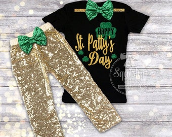 Happy St. Patricks Day Outfit Girl St. Pattys Day Shirt & Gold Pants, Girl St. Patricks Day, Black and Gold, St. Paddy's Day Shirt, NB-6T