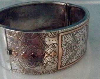 "ViCtorian Sterling Silver and Rose Gold 1"" cuff."