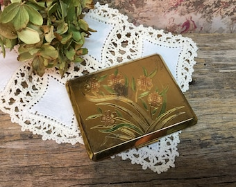 Vintage American Beauty Compact/Made in USA/Mirror/Gold/Floral