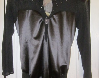 GUY LAROCHE Unworn Black Stretch Satin and Mesh Cat Suit from the 1980s, Size M