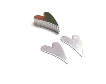 Mini Silver heart blanks - 20 G -Aluminum - Tumbled Blanks -PREMIUM - Stamping blanks - jewelry blanks - shape blanks - earring blanks