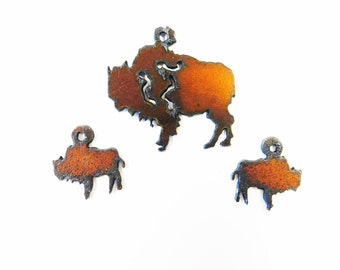 Buffalo Bison charm with matching earrings made out of rusted rustic rusty recycled metal