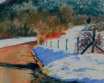 Original Pastel Painting, Berkshire Landscape, Rural Road, Mountain View, Williamstown by Robert Lafond