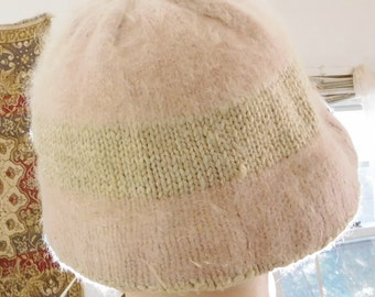 Soft Crochet Beanie Cap Brimmed Hat Oatmeal Tan with Light Dusty Pink Vintage