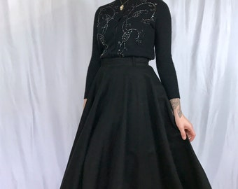 50s Black Circle Skirt with Outrageous Red Crinoline -SMALL