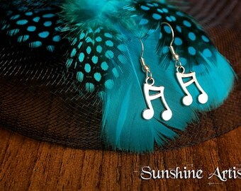 Musical Note earrings, pair of dangle earrings, music note charms, music lover, Tibetan silver charms, Silver plated fish hook findings