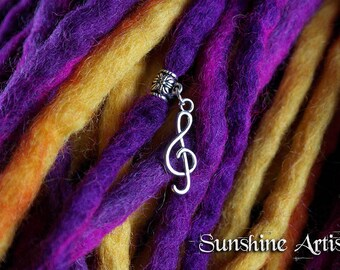 Treble Clef charm, dread charm, Tibetan silver, Music Lover, festival jewellery, music pendant, music charm, choose your own size bead
