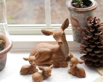 Ceramic Deer Family, Handpainted Doe and 3 Fawns, Woodland Shelf Decor
