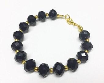 Iridescent Grey Glass Bracelet