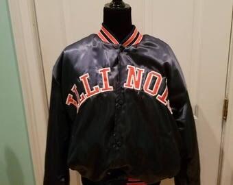 Vintage 80's Illinois Satin Bomber Jacket