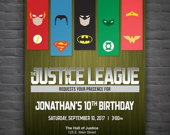 Justice League Birthday Party Invitation - Digital File