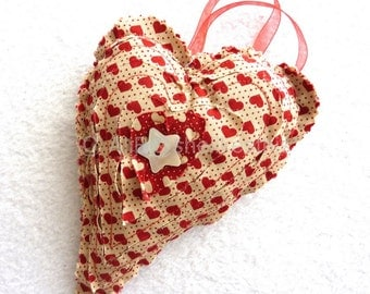 Red hanging heart rustic primitive heart  home decor   love heart  rustic heart  red heart  unique gift