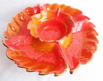 vintage california pottery usa lazy susan chip dip vegetable tray 6pc set