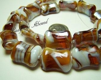 Caramel & Cream Lampwork Beads- Full Strand