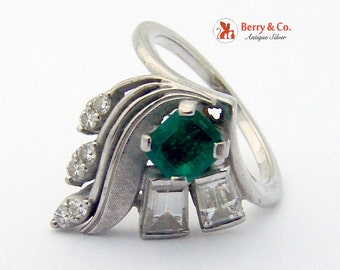 18K White Gold Diamond Emerald Ring