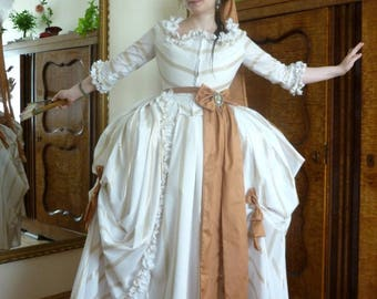 18th century striped cotton gown madame pompadour marie antoinette style