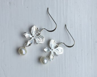 Silver Orchid Earrings with White Freshwater Pearl, bridesmaid earrings