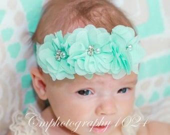 Mint Headband/Baby Headband/Baby Headband and Bow/Infant Headban/Baby Girl Headband/Girl Headband Baby/Toddler Headband/Photo Prop Baby
